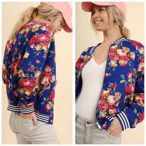 Bomber Jacket Royal Blue Floral Pockets Sm Med